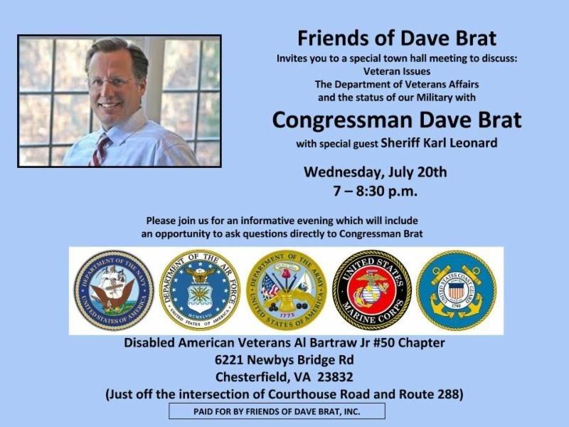 Dave Brat Town Hall flyer